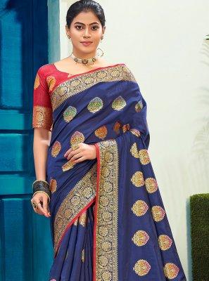 Cotton Silk Blue Woven Traditional Saree