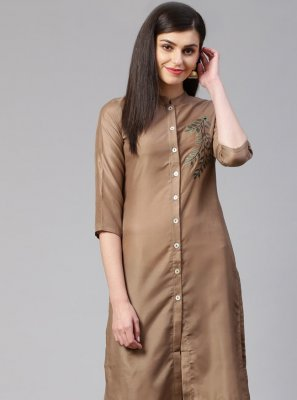 Cotton Silk Brown Embroidered Designer Kurti