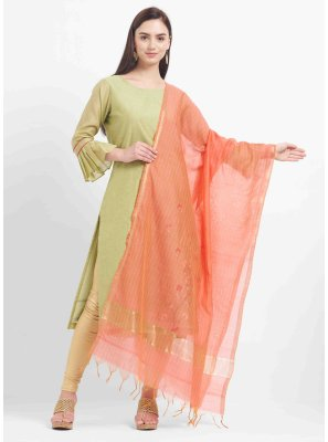 Cotton Silk Designer Dupatta in Peach