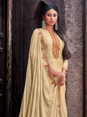 Cotton Silk Designer Palazzo Salwar Kameez in Cream