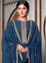 Cotton Silk Designer Palazzo Salwar Suit in Blue