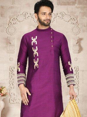 Cotton Silk Dhoti Kurta in Purple