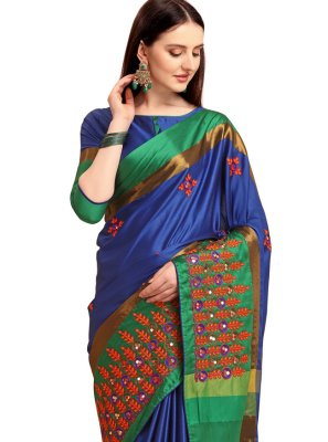 Cotton Silk Embroidered Blue Traditional Saree