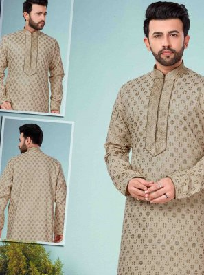 Cotton Silk Embroidered Cream Kurta Pyjama