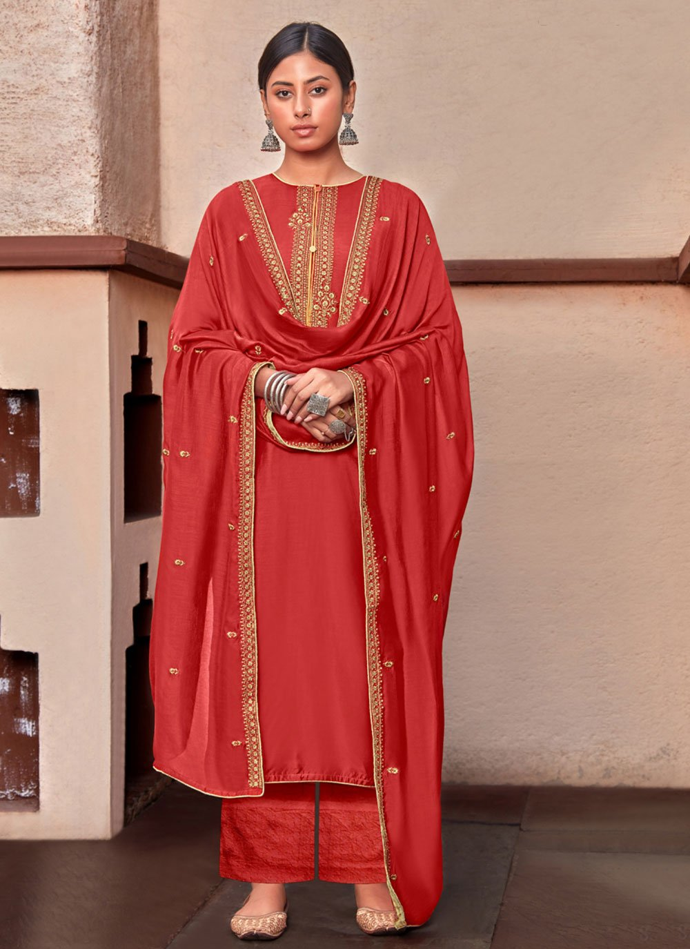 Cotton Silk Embroidered Designer Palazzo Suit in Red