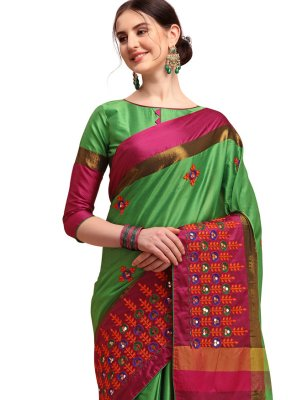 Cotton Silk Embroidered Green Traditional Saree