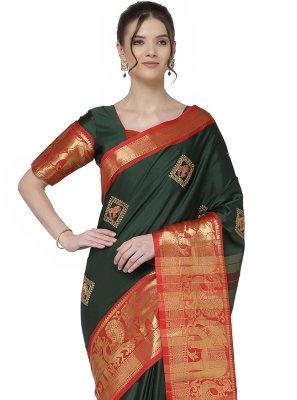 Cotton Silk Embroidered Green Trendy Saree