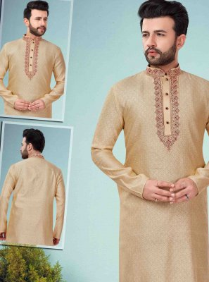 Cotton Silk Embroidered Kurta Pyjama in Gold