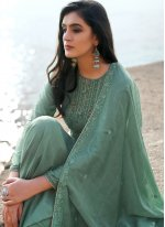 Cotton Silk Embroidered Sea Green Pant Style Suit