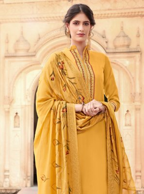Cotton Silk Embroidered Yellow Designer Palazzo Salwar Suit