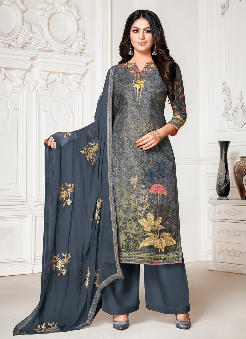 Cotton Silk Fancy Blue and Grey Designer Palazzo Salwar Suit
