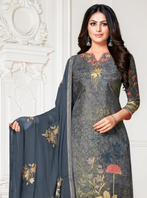 Cotton Silk Fancy Blue and Grey Designer Palazzo Salwar Suit