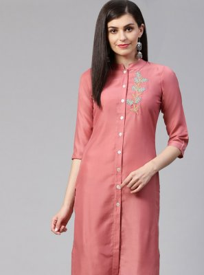 Cotton Silk Fancy Designer Kurti in Pink