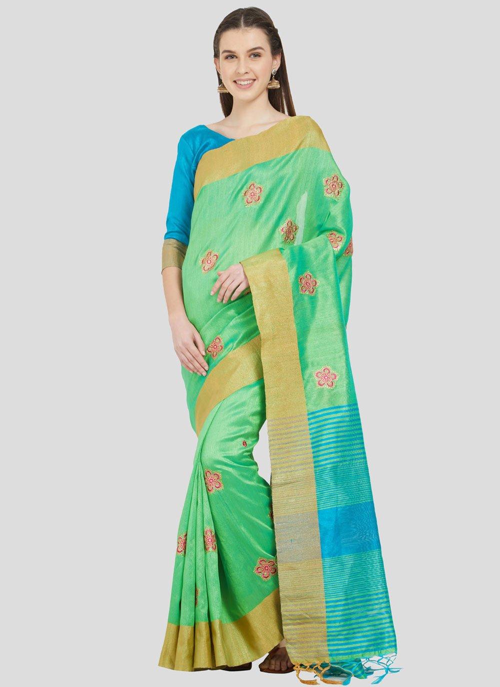 Cotton Silk Fancy Green Classic Designer Saree
