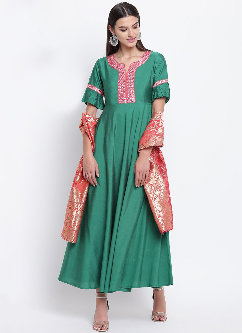 Cotton Silk Fancy Party Wear Kurti in Green