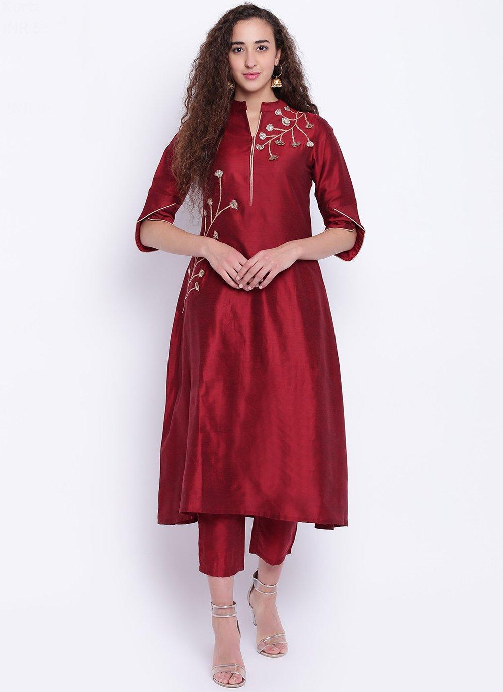 Cotton Silk Fancy Party Wear Kurti in Maroon