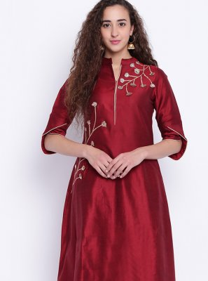 Cotton Silk Fancy Party Wear Kurti in Maroon