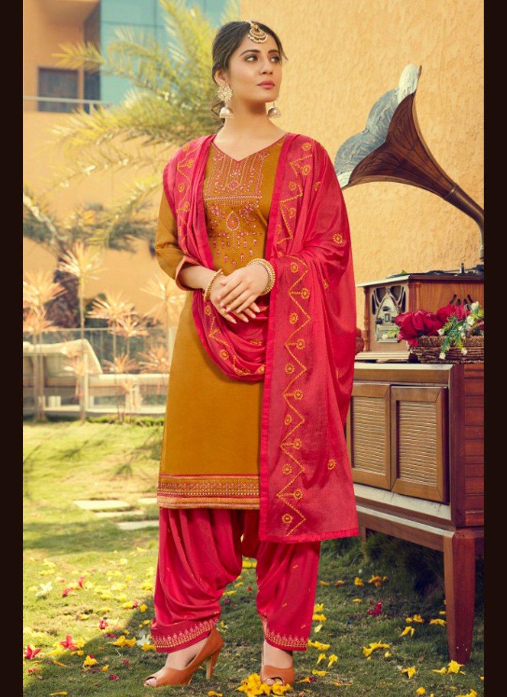 Cotton Silk Festival Patiala Suit