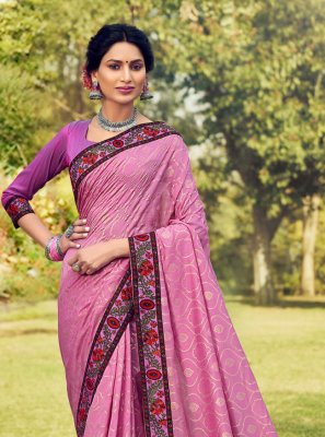 Cotton Silk Foil Print Pink Designer Traditional Saree