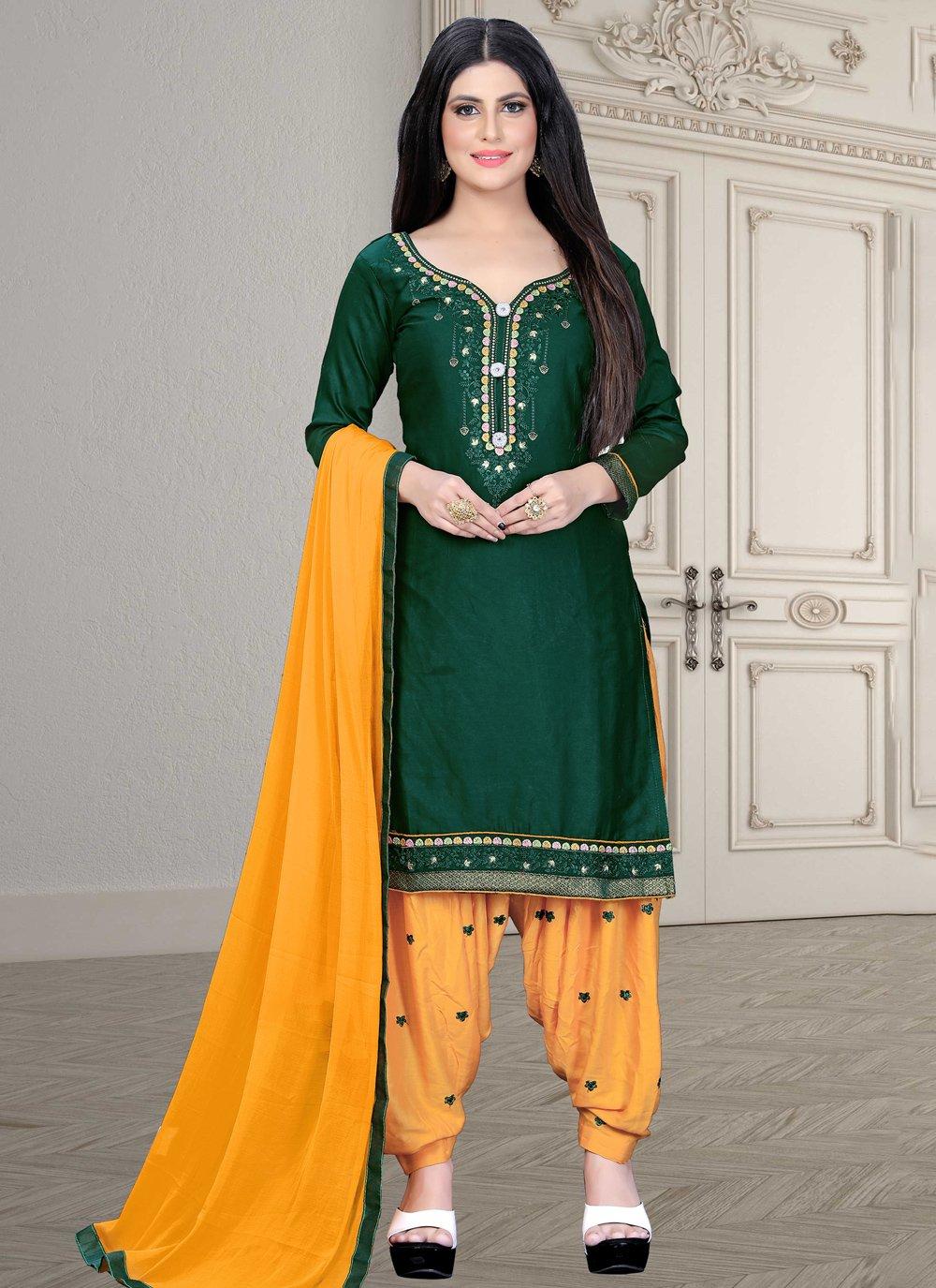 Cotton Silk Green Embroidered Patiala Salwar Kameez