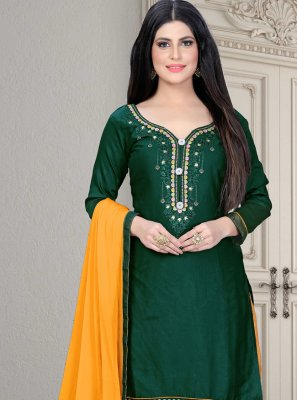 Cotton Silk Green Embroidered Patiala Salwar Kameez