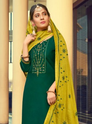 Cotton Silk Green Print Patiala Suit