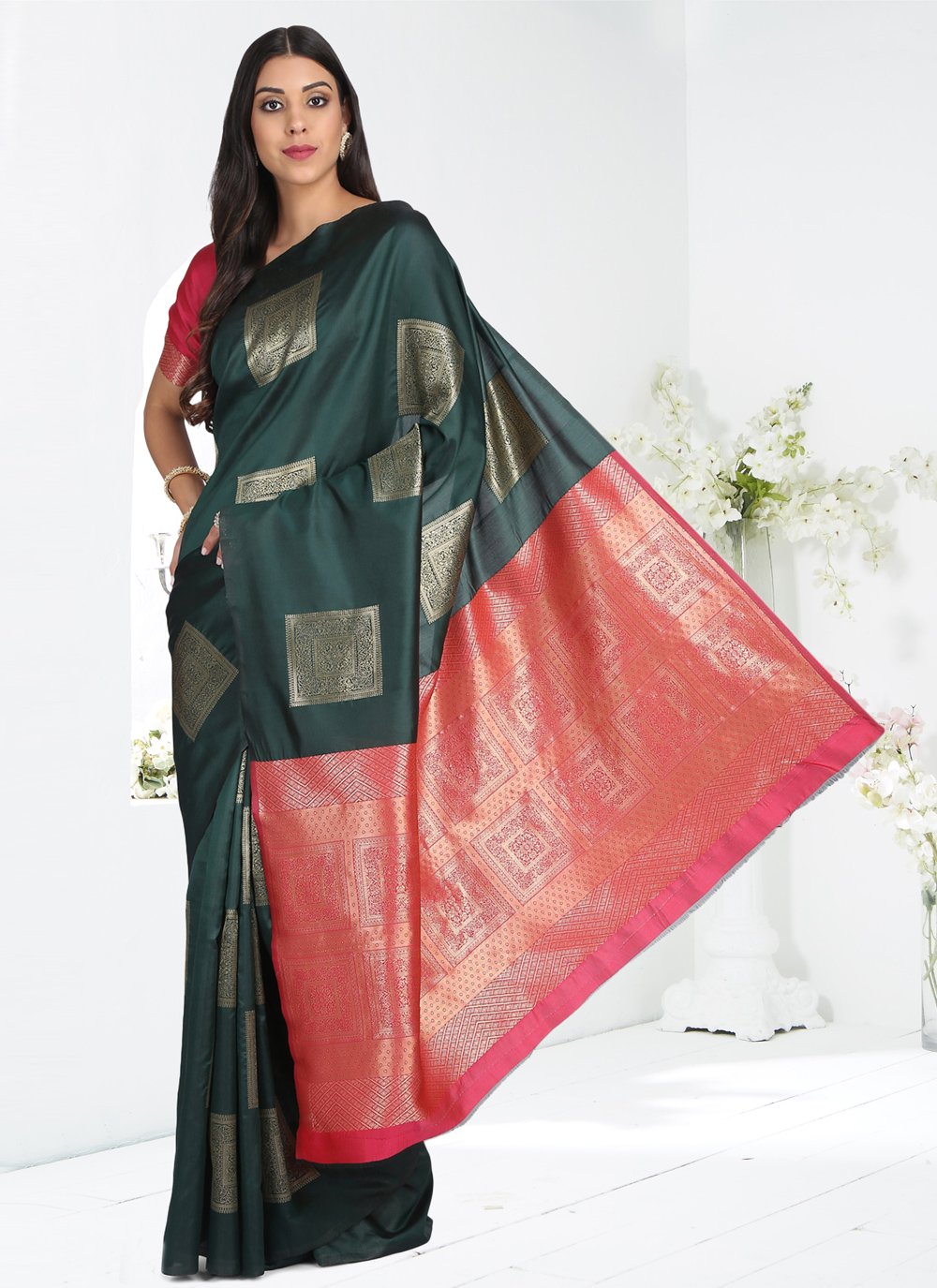 Cotton Silk Green Printed Printed Saree