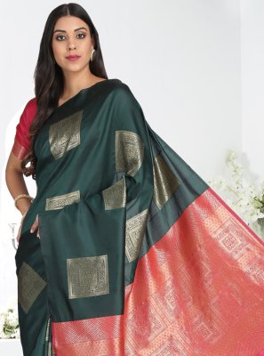 Cotton Silk Green Printed Printed Saree