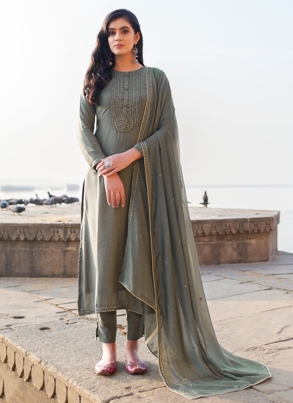 Cotton Silk Grey Embroidered Pant Style Suit