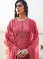 Cotton Silk Hot Pink Embroidered Pant Style Suit