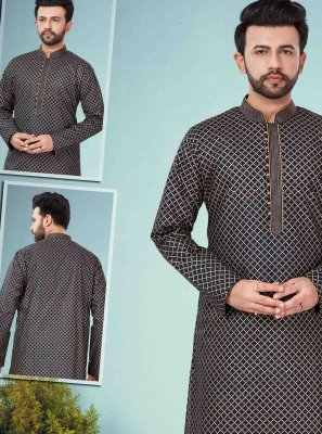 Cotton Silk Kurta Pyjama in Black