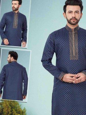 Cotton Silk Kurta Pyjama in Navy Blue
