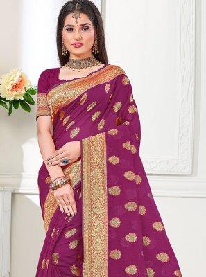 Cotton Silk Magenta Weaving Traditional Saree
