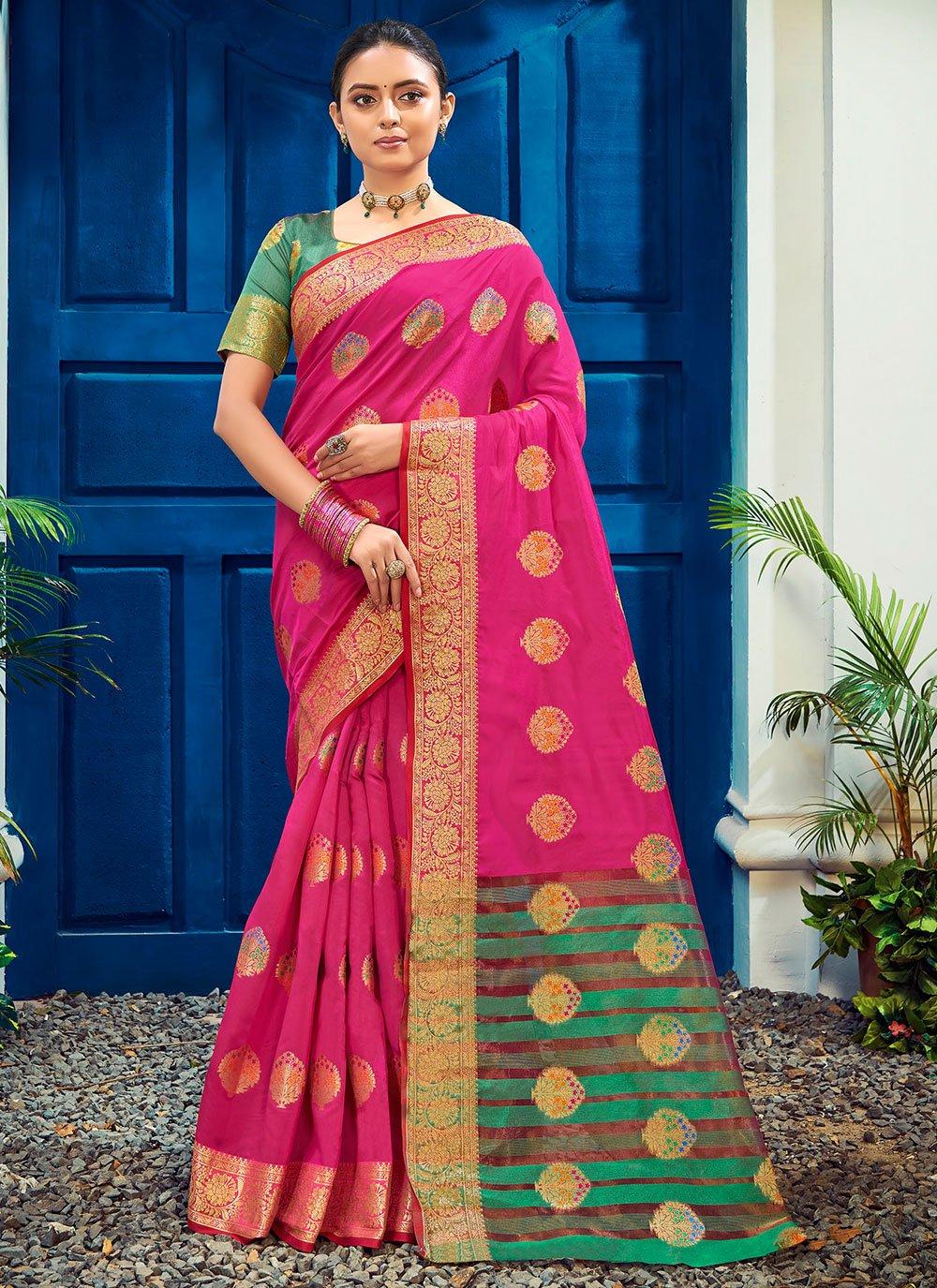 Cotton Silk Magenta Woven Traditional Designer Saree