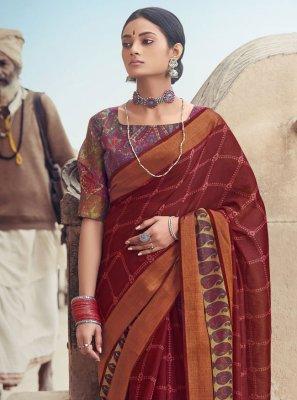 Cotton Silk Maroon Printed Saree