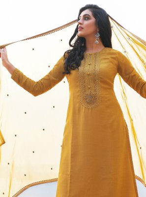 Cotton Silk Mustard Embroidered Pant Style Suit