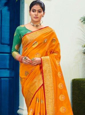 Cotton Silk Mustard Woven Designer Traditional Saree