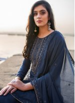 Cotton Silk Navy Blue Embroidered Pant Style Suit