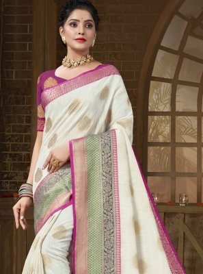 Cotton Silk Off White Designer Traditional Saree