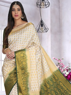 Cotton Silk Off White Weaving Designer Saree