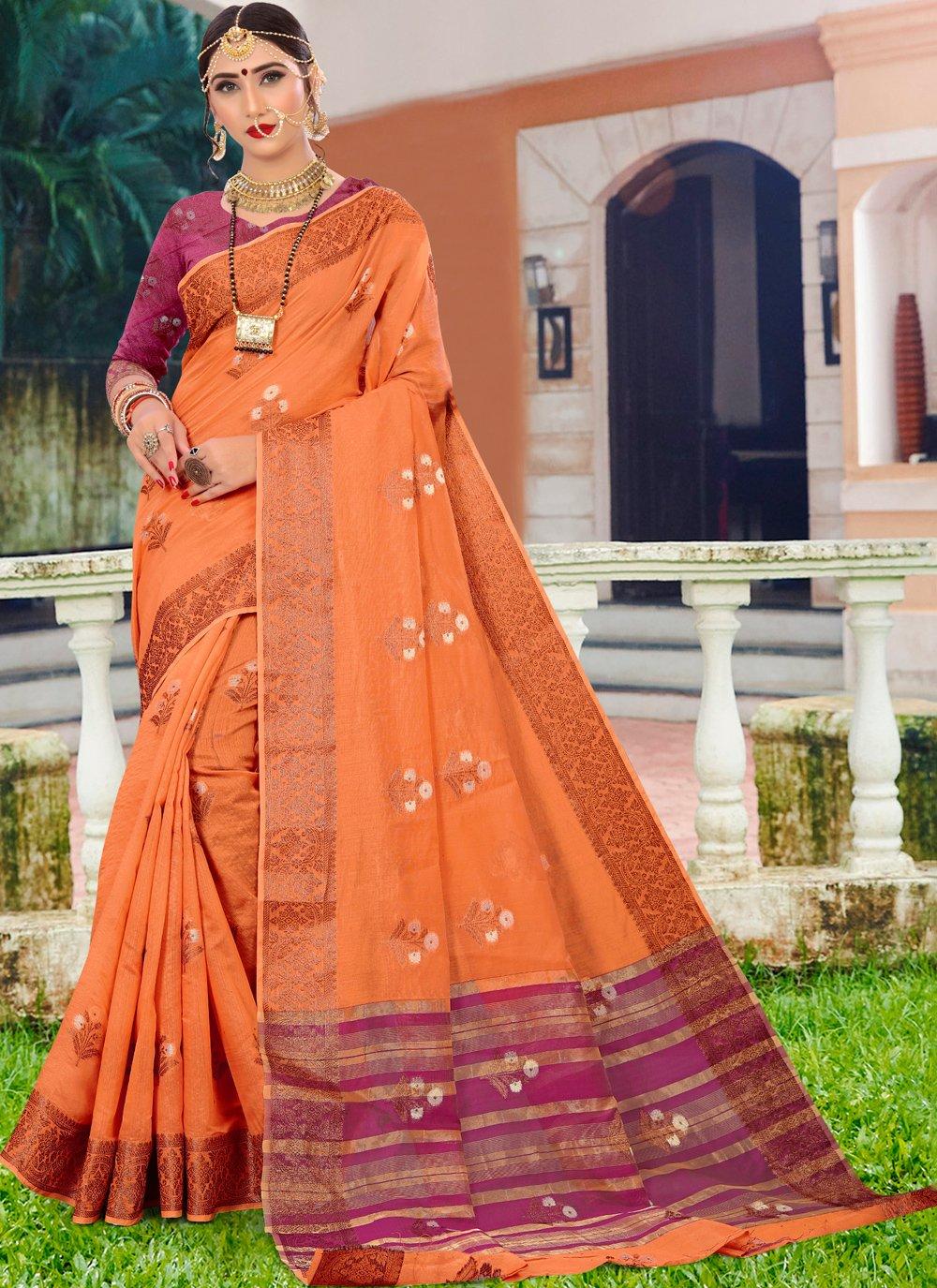 Cotton Silk Orange Woven Designer Traditional Saree