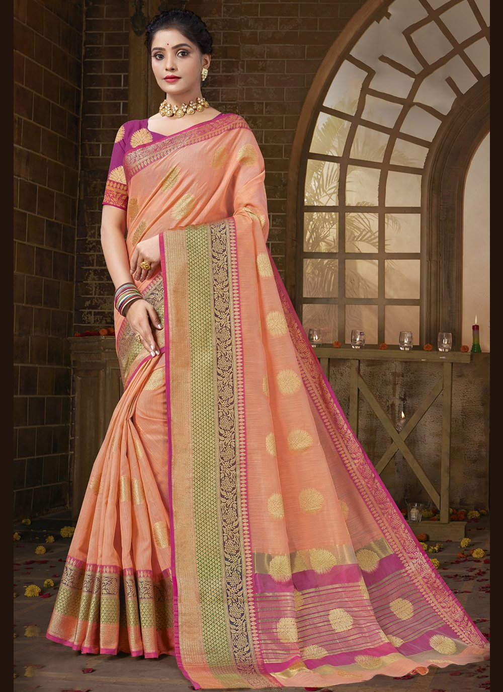 Cotton Silk Peach Woven Designer Traditional Saree