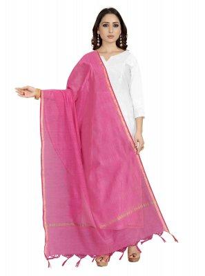 Cotton Silk Pink Designer Dupatta