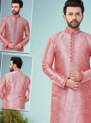 Cotton Silk Pink Embroidered Kurta Pyjama