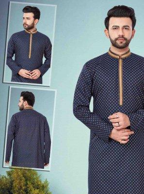 Cotton Silk Print Kurta Pyjama in Navy Blue