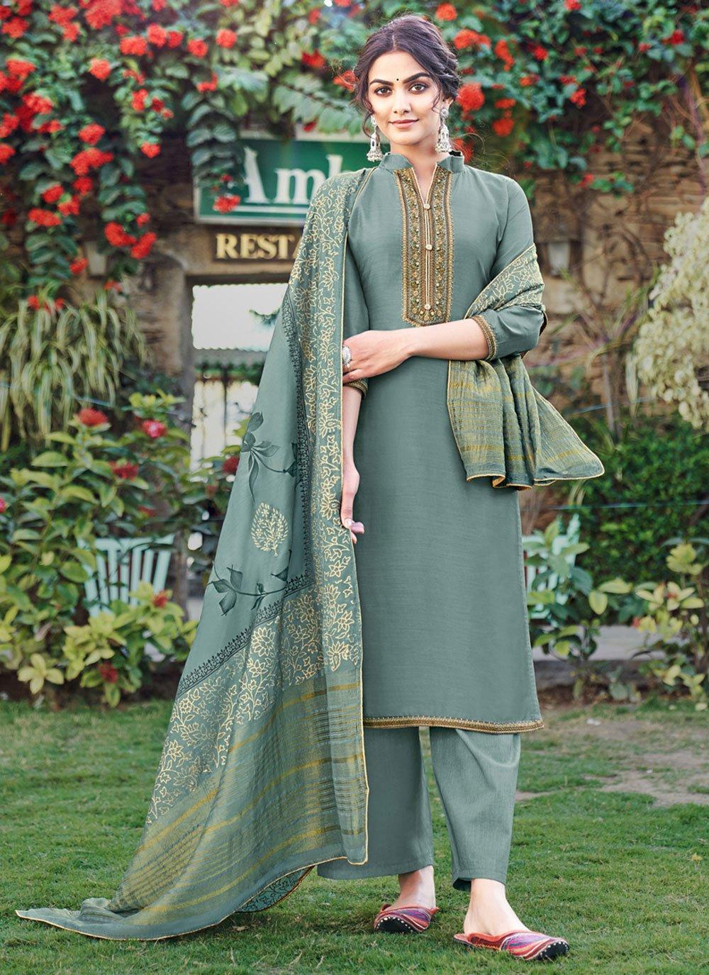Cotton Silk Print Pant Style Suit