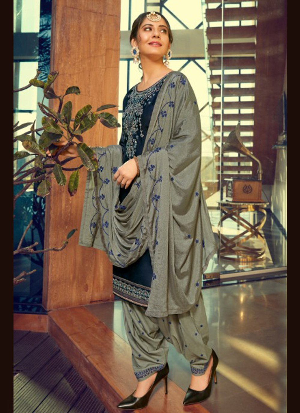Cotton Silk Print Patiala Suit