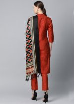 Cotton Silk Print Red Readymade Suit