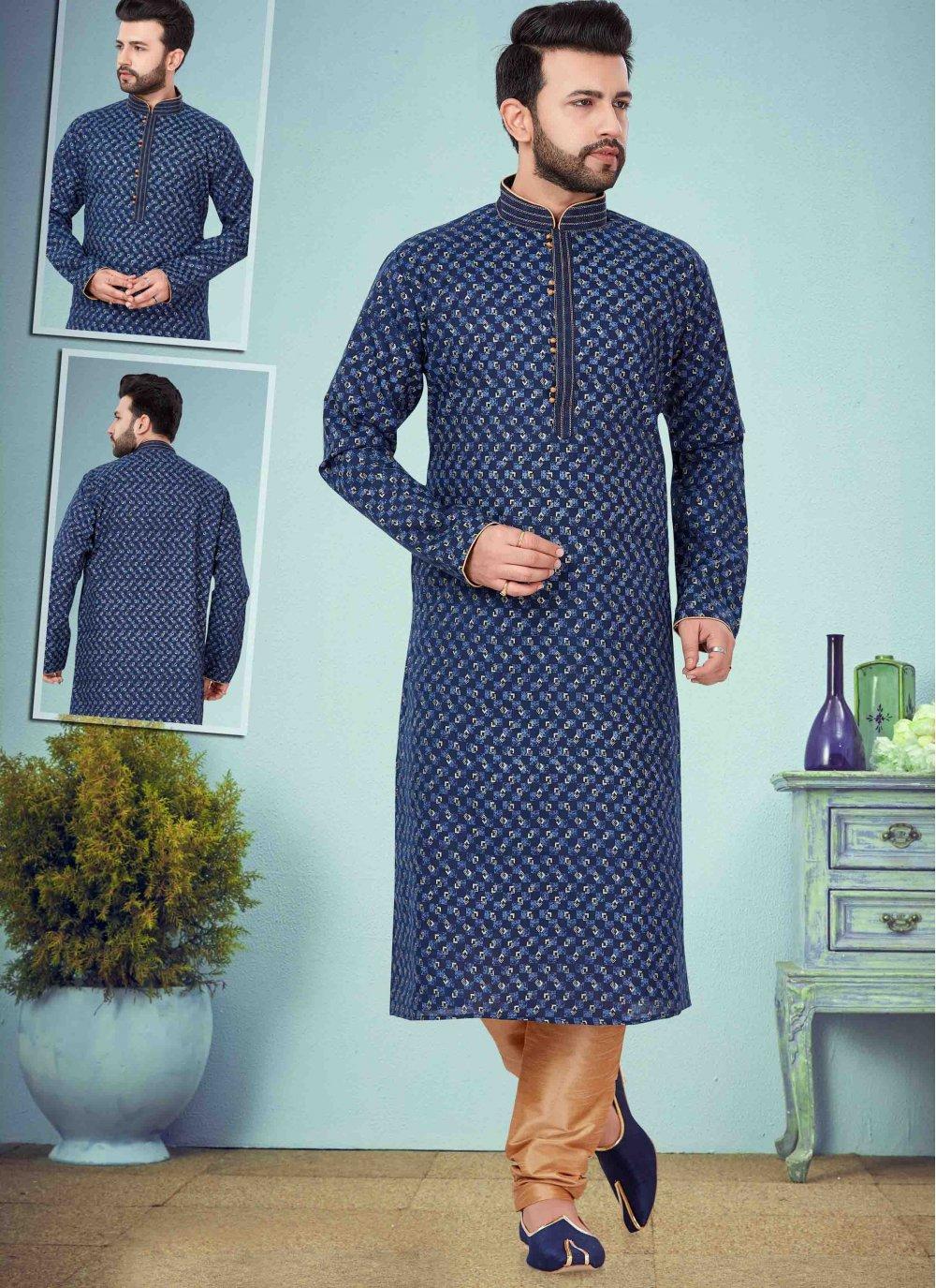 Cotton Silk Printed Blue Kurta Pyjama