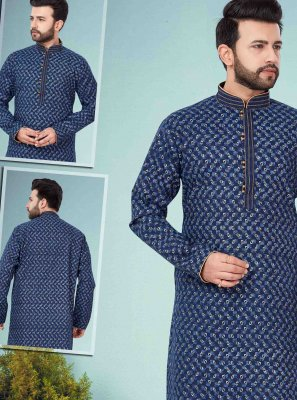 Cotton Silk Printed Blue Kurta Pyjama